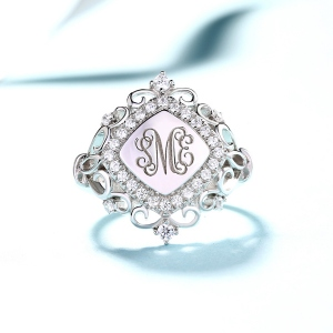 Personalized CZ Monogram Signet Ring