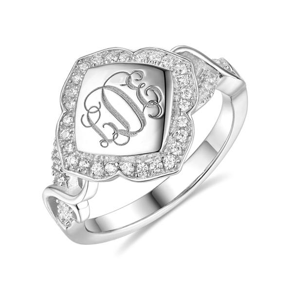 Custom Flower Design CZ Initial Monogram Ring