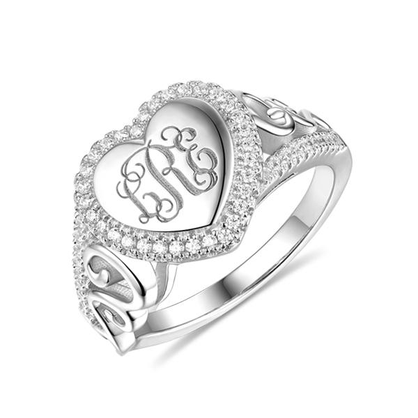 Anel de prata monograma esterlina em formato de coração CZ
