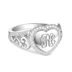Engraved Heart Sterling Silver Monogram CZ Ring