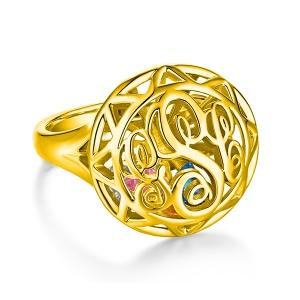 Monogramm-Käfig-Ring mit Herz-Geburtssteinen in Gold