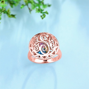 Monogram Cage Ring With Heart Birthstones In Rose Gold