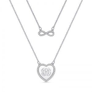 Custom Monogram Infinity Double-Layered Necklace Sterling silver