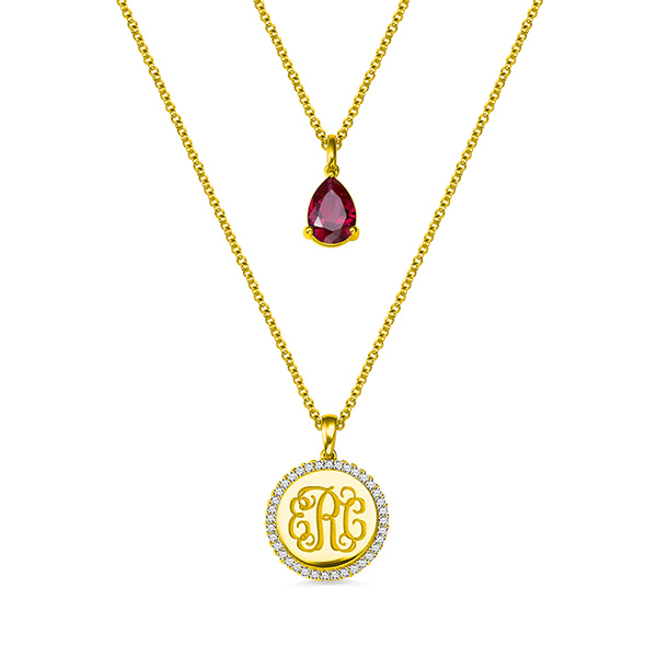 69dab2dc1 Custom 2 Layered Monogram Initial Necklace with Gemstone