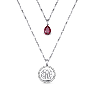 Custom 2 Layered Monogram Initial Necklace with Birthstone Silver