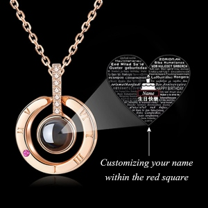 "Personalized Memorial Name Necklace with ""Happy birthday"" in 100 languages."