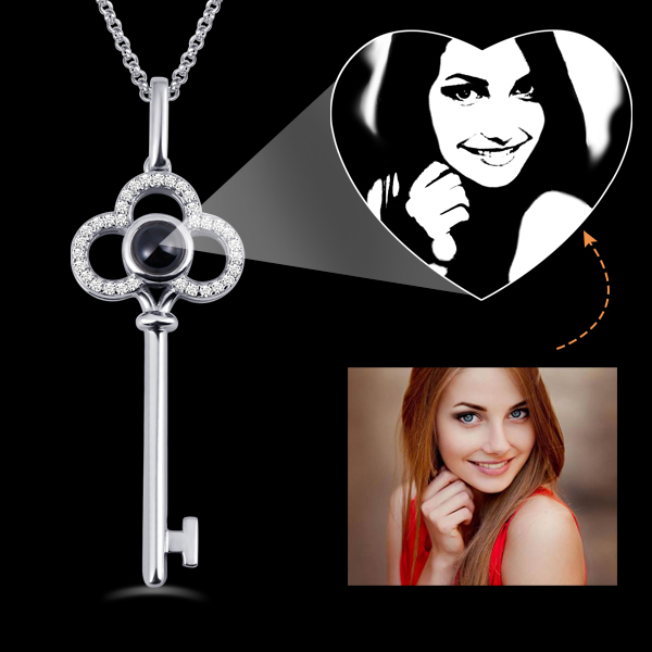 Custom Micro Engraved Photo Projection Key Necklace