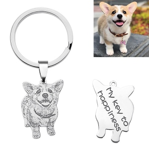 Engraved Cat Photo Keychain