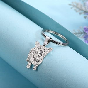 Fascinating Engraved Cat Photo Keychain