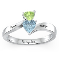 Double Heart Gemstones Promise Ring