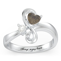 Duo of Hearts and Stones Infinity Ring