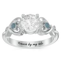 Personalized Heart in Heart Gemstone Ring