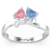 Engraved Couple Hearts Promise Ring