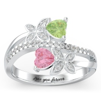 Engraved Butterfly Promise Ring with Accents