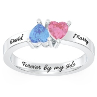 Inverted Twin Hearts Promise Ring