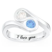 Swirl 2 Stones Promise Ring