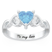 Engraved Heart Stone Infinity Promise Ring