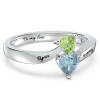 Double Heart Gemstone Promise Ring