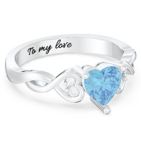 Engraved Heart Stone Infinity Ring