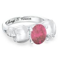 Skull Oval Stone Promise Ring