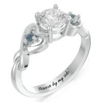 Heart in Heart Gemstone Promise Ring