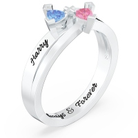 Inverted Twin Trillion Cut Ring