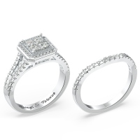 Halo Princess Cut Wedding Ring Set
