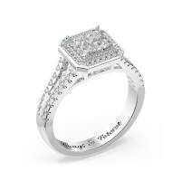 Princess Cluster Engagement Ring