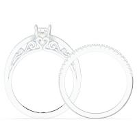 Vintage Gemstone Engagement Wedding Ring Set