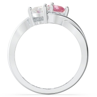 Two Heart Shaped Gemstones Infinity Ring