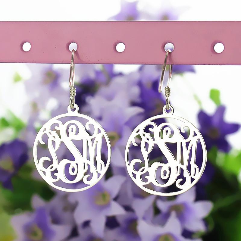 Circle Monogrammed Initial Earrings Sterling Silver