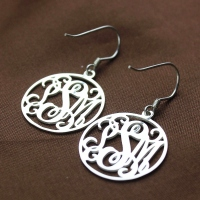 Silver Monogram Earring