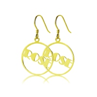 Gold Plated Silver 925 Broadway Font Circle Name Earrings